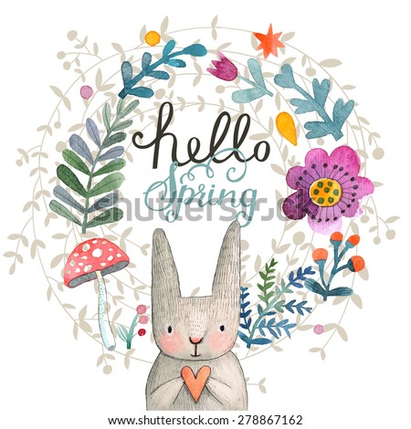 Cute card with lovely Rabbit with heart, flowers, leafs and mushroom in awesome colors. Lovely spring theme set made in watercolor technique. Bright forest concept card with text in vector - stock vector