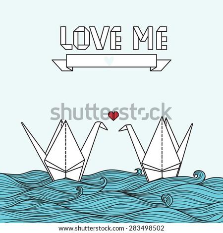 Cute card with origami ?rane in love. Can be used for invitation or banner - stock vector
