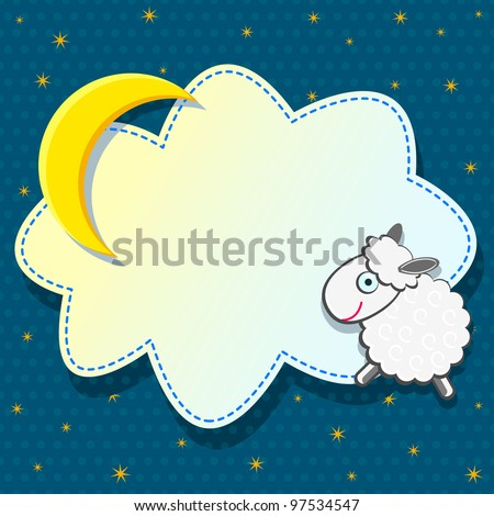 Cute Card with Sheep Cloud and Moon on Blue Background. Vector - stock vector