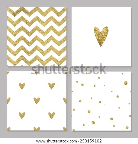 Cute cards with gold Confetti glitter collection. Perfect for valentines day, birthday, save the date invitation. Could use as seamless pattern - stock vector