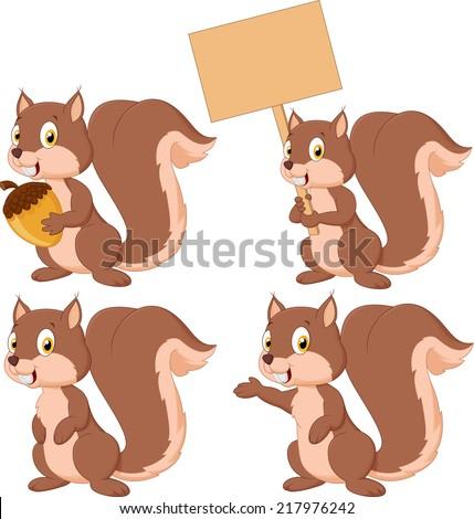 Cute carton squirrel collection set - stock vector