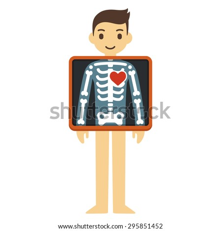 Cute cartoon adult man with x-ray screen showing his skeleton and heart. Element of health infographics. - stock vector