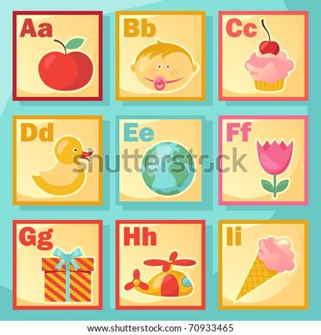 Cute cartoon alphabet - stock vector