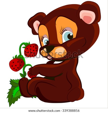 Cute cartoon and vector isolated of cute Bear and strawberry   - stock vector