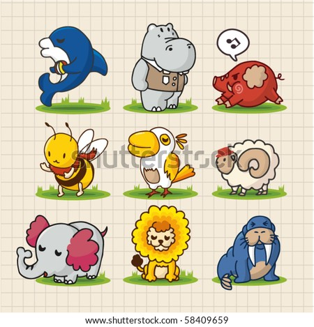 cute cartoon animals - stock vector
