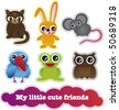 Cute cartoon animals collection in vector - stock vector