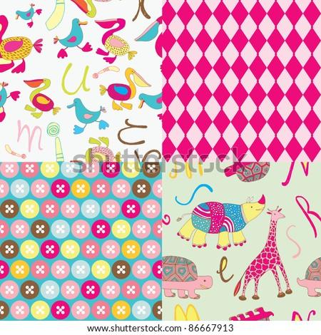 cute cartoon animals seamless patterns - stock vector