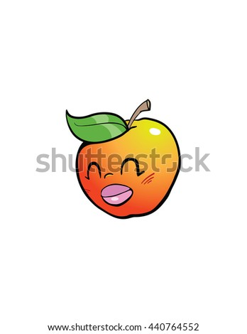 cute cartoon apple face - stock vector
