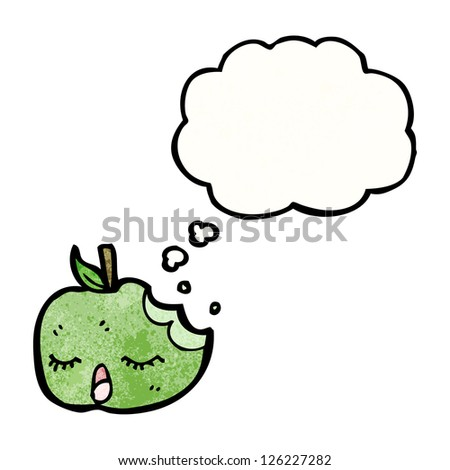 cute cartoon apple with thought bubble