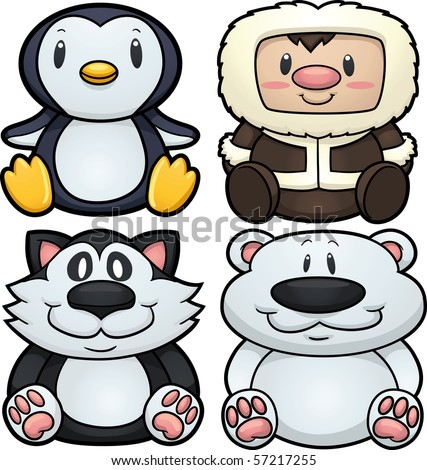 Cute cartoon arctic characters. Vector illustration with simple gradients. All elements in separate layers for easy editing. - stock vector