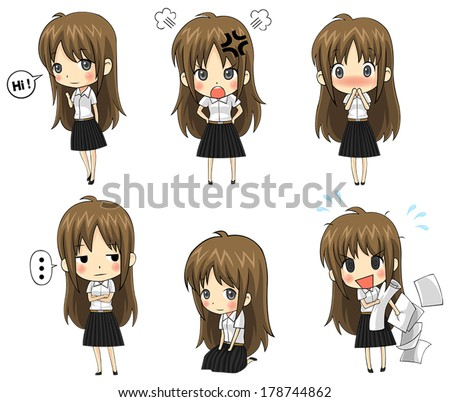 Cute cartoon Asian Thai college student in uniform emotional and expression icon set, create by vector  - stock vector