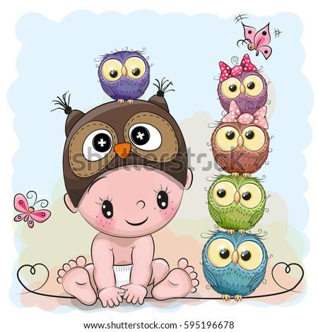 cute cartoon baby boy owl hat stock vector 595196678 shutterstock rh shutterstock com cute baby owl cartoon pictures cute baby owl cartoon