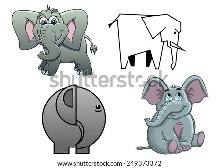 Cute cartoon baby elephants , two in profile and two facing with happy smiles and flapping ears