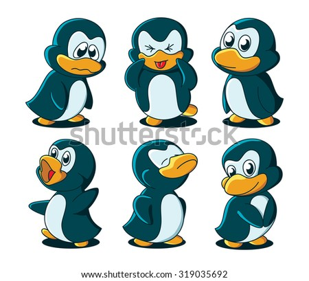 Cute cartoon baby penguins. No gradients, all in separate layers - stock vector