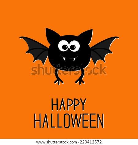 Cute cartoon bat. Happy Halloween card. Flat design. Vector illustration - stock vector