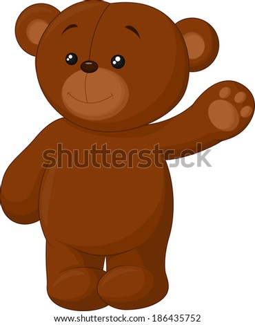 Cute cartoon bear waving - stock vector