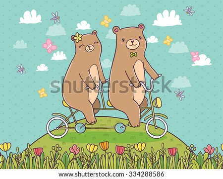 Cute cartoon bears on tandem bike. Sweet adorable animals. Summer meadow with flowers and butterfly. Transport vector illustration. - stock vector