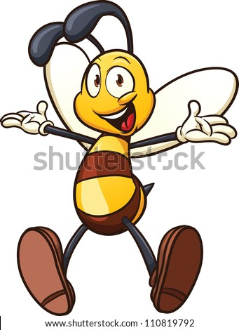 Cute cartoon bee. Vector illustration with simple gradients. All in a single layer.