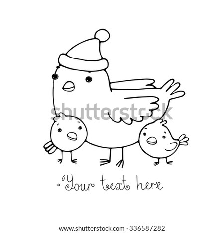 Cute cartoon Bird with chicks in the hat. Hand drawn vector illustration. Coloring book. - stock vector