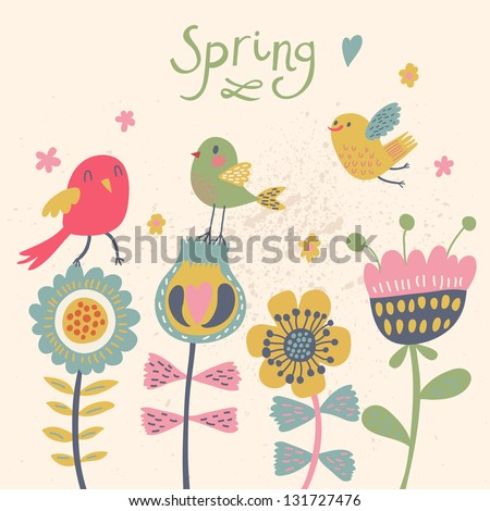 Cute cartoon birds on flowers in vector. Stylish floral card. Summer background in bright colors. - stock vector