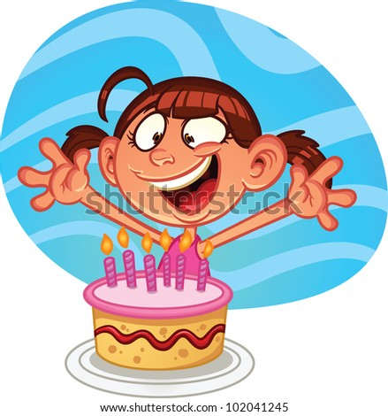 Cute Cartoon Birthday Girl Cake Vector Stock Vektorgrafik 102041245
