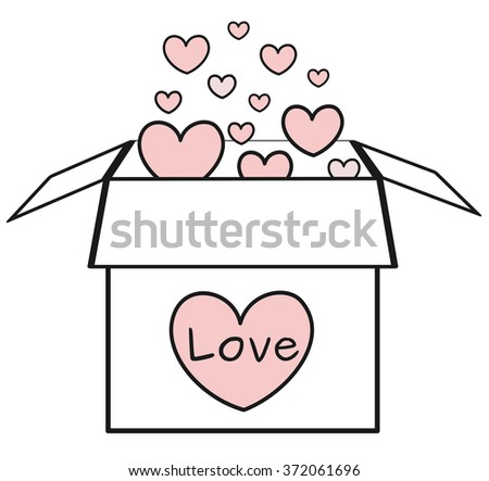 cute cartoon black and white box with red hearts vector romantic illustration