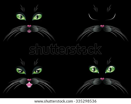 Cute cartoon black cat face with stylized green eyes.