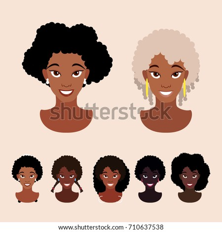 Cute Cartoon Black Girls Natural Hairstyles Stock Vector (Royalty ...