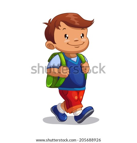 Cute cartoon boy goes to school, isolated vector - stock vector