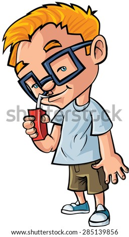 Cute cartoon boy with glasses drinking juice. Isolated on white