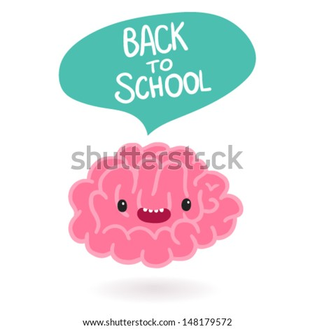Cute cartoon brain character with bubble speech - Back to school - stock vector