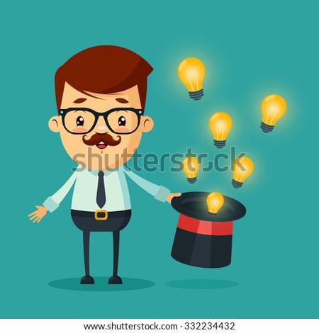 Cute Cartoon Businessman With Magic Hat Full Of Light Bulbs Ideas