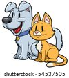 Cute cartoon cat and dog. Both in separate layers for easy editing. - stock vector