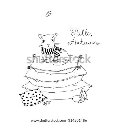 Cute cartoon cat on cushions.  Hand drawing isolated objects on white background. Vector illustration. Hello, Autumn. Coloring book. - stock vector