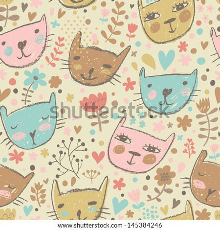 Pastel Background Cats Childish Background in Pastel
