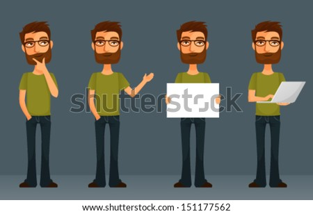 cute cartoon character - young man with beard and glasses, in various poses - stock vector