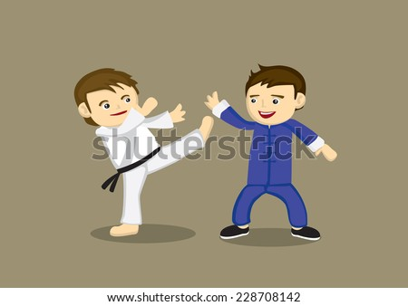Cute cartoon characters fighting in different martial arts style, Japanese Karate high kick and Chinese Kung fu. Vector illustration isolated on plain background - stock vector