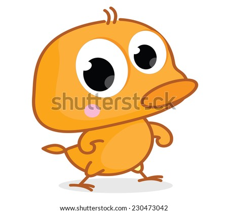 cute cartoon chick - stock vector