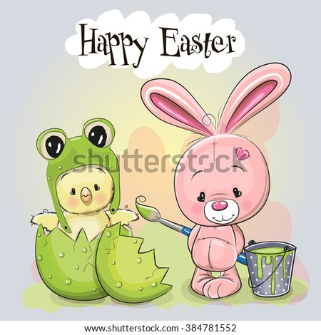 Cute Cartoon Chick in a frog hat and Rabbit with brush - stock vector