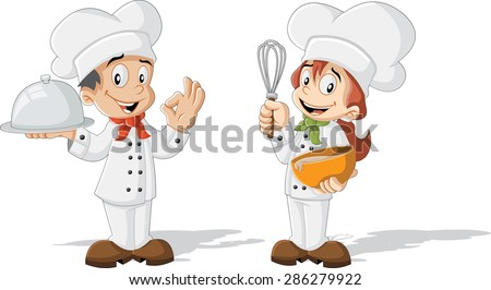 Cute cartoon children chefs cooking - stock vector