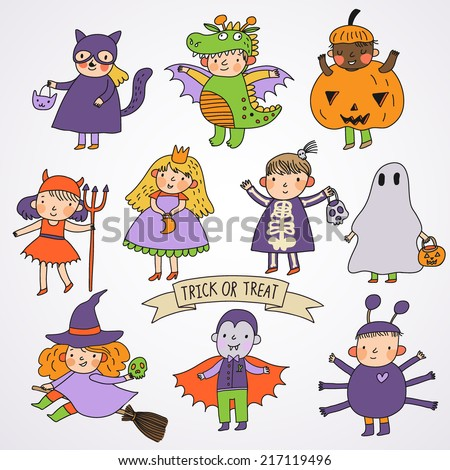 Cute cartoon children in Halloween costumes: Princess, ghost, pumpkin, spider, dragon, devil, witch, vampire, cat - stock vector