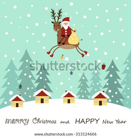 Cute cartoon Christmas card with reindeer - stock vector