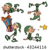 Cute cartoon Christmas elves. All in separate layers for easy editing. - stock photo
