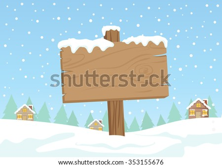 Cute Cartoon Clip Art - Blank wooden direction sign with white snow on village and  falling snow background  - stock vector