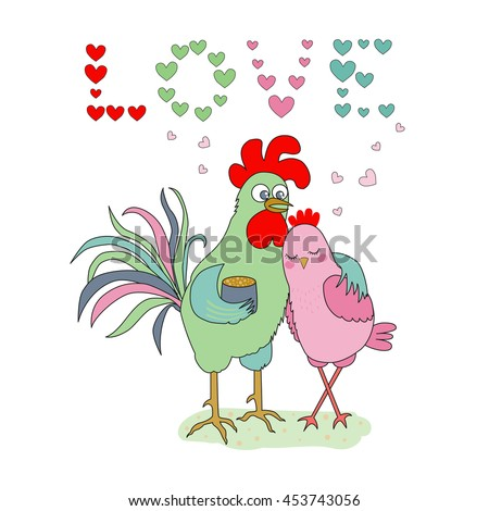 Cute cartoon cock and hen - symbol of 2017. The word Love consisting of hearts. Greeting card, Valentine Day design. Chinese New Year of the Rooster. Illustration in flat style - stock vector