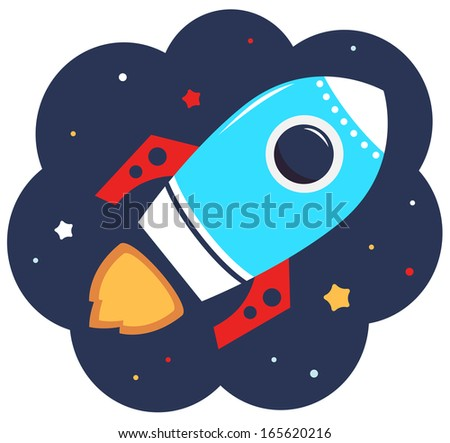 Cute cartoon colorful Rocket in space - stock vector