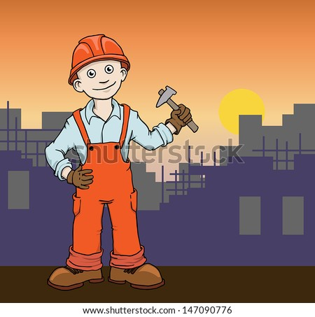 Cute Cartoon Construction worker repairman on the building site vector illustration  - stock vector