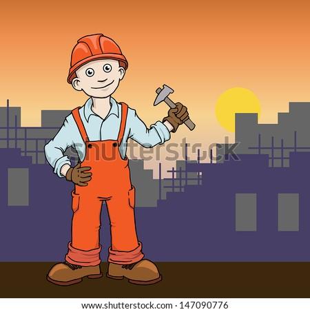 Cute Cartoon Construction worker repairman on the building site vector illustration  - stock vector