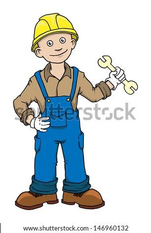 Cute Cartoon Construction worker repairman vector illustration - stock vector