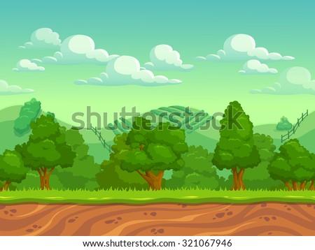 Cute cartoon country seamless horizontal landscape, nature vector illustration - stock vector